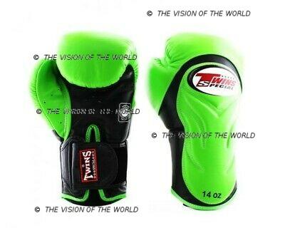 Gants Twins BGVL 6 muay thai kick boxing mma boxe anglaise boxe thai boxe pieds-poings vert nnoir