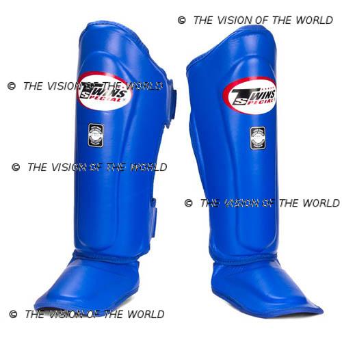 Protège-tibia Twins SGL10 muay thai boxe thai kick boxing mma meilleurs protege tibia savate pieds-poing bleu