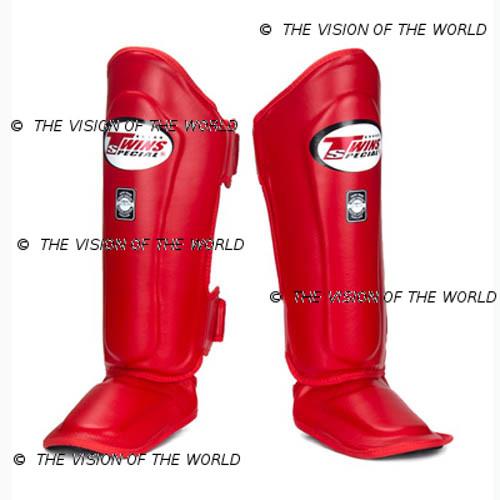 Protège-tibia Twins SGL10 muay thai boxe thai kick boxing mma meilleurs protege tibia savate pieds-poing rouge