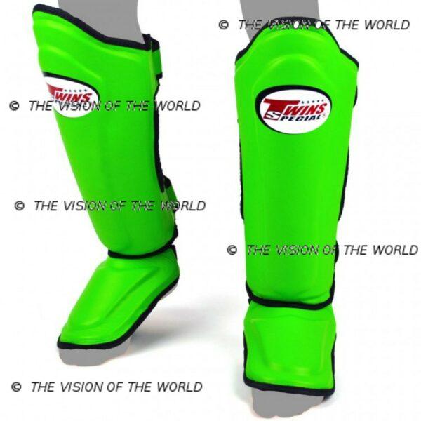Protège-tibia Twins SGL10 muay thai boxe thai kick boxing mma meilleurs protege tibia savate pieds-poing vert