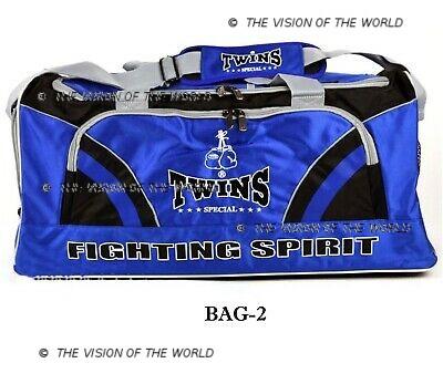 Sac de sport Twins BAG2 jaune, fitness boxe thai muay thai kick boxing mma bleu
