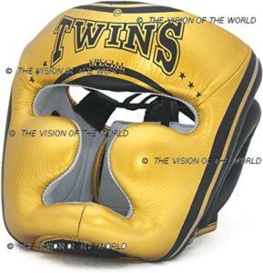 casque de protection Twins Or/Noir boxe anglaise boxe thai mma