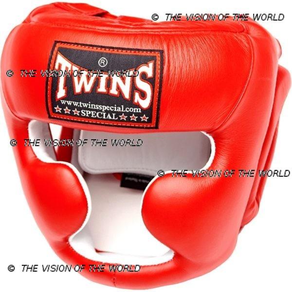 Casque de boxe Twins HGL3 rouge un casque de sparring full face à barre indispensable aux boxeurs professionnels pour l'entraînement et le sparring