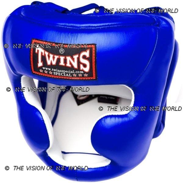 Casque de boxe Twins HGL3 bleu un casque de sparring full face à barre indispensable aux boxeurs professionnels pour l'entraînement et le sparring