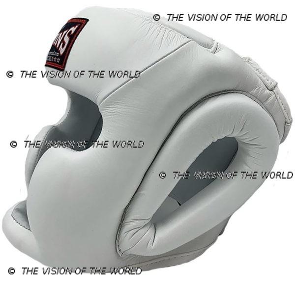 Casque de boxe Twins HGL3 blanc un casque de sparring full face à barre indispensable aux boxeurs professionnels pour l'entraînement et le sparring profil