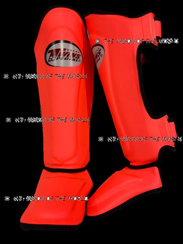 Protège-tibia Twins SGS10 Orange foncé boxe thai muay thai kick boxing savate boxe française boxe pieds-poings